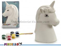 Hucha de Cerámica Caballo Unicornio Grande 6 Temperas Pincello
